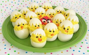 Easter Chick Deviled Eggs with an Angry Bird thrown in for good measure! Courtesy of our friends at  My Wedding Reception Ideas http://bit.ly/H3PCdR