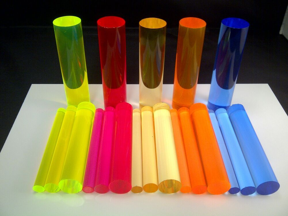 Acrylic Rods 4 Sizes 5 Colours Light Emitting Fluorescent Glow Neon Acrylic Rod Acrylic Tube Fluorescent