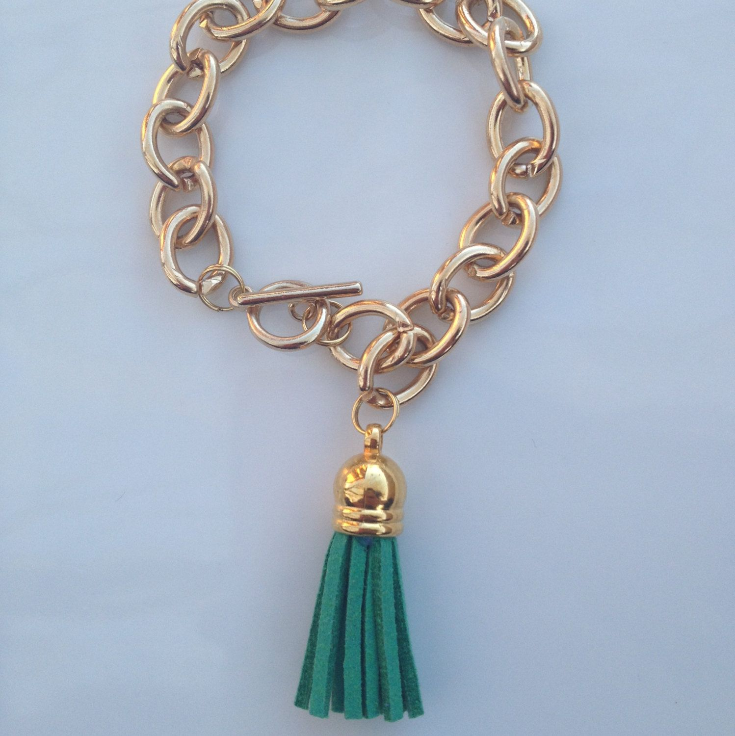 The Kelly Green Tassel Bracelet. $12.00, via Etsy.