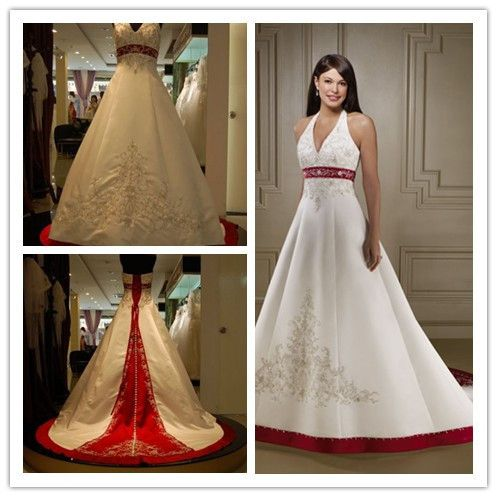 3c1254cf14 Real Sample Luxury Embroidery White and Red Halter A Line Wedding ...