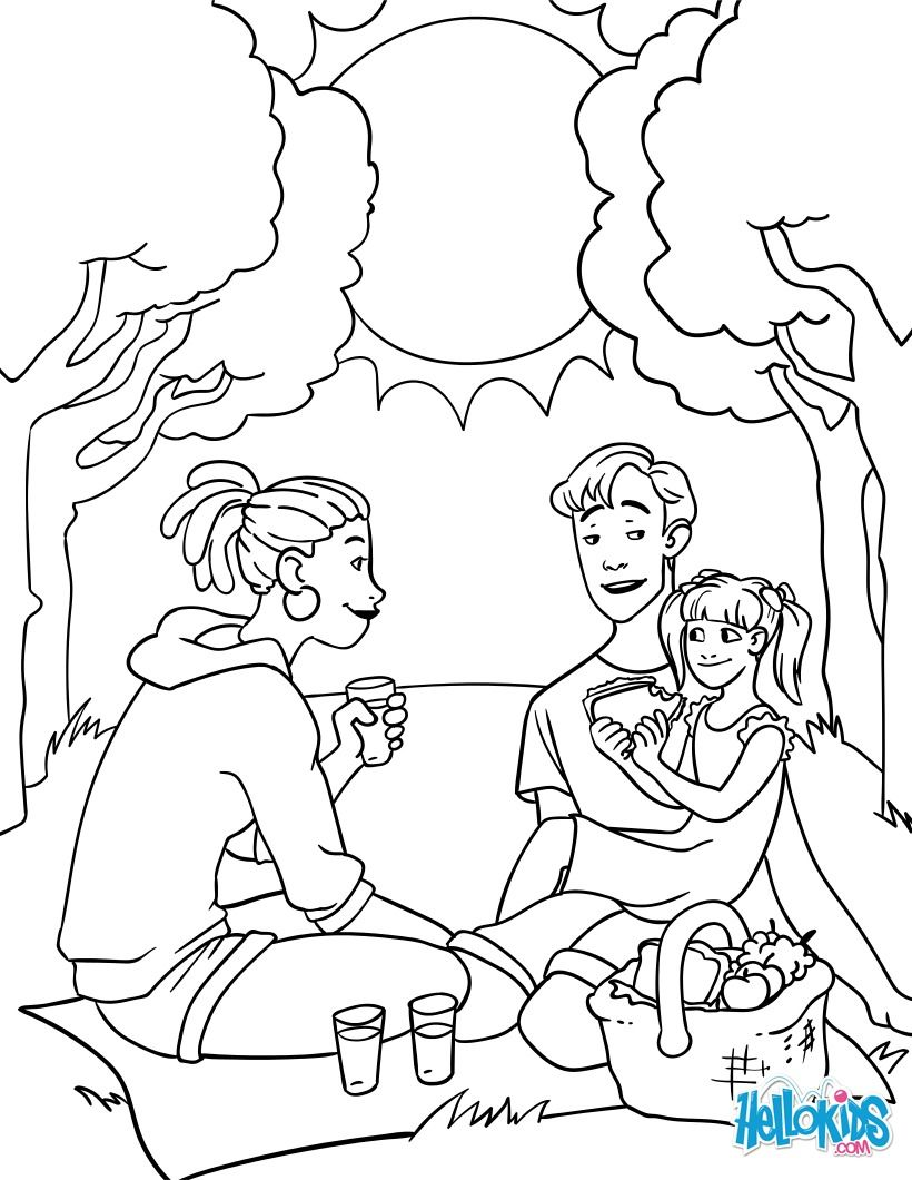 cute family picnic coloring page perfect coloring sheet for kids