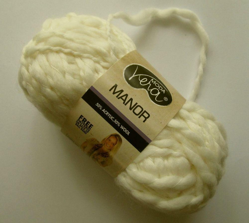 6 x 50g - MODA VERA MANOR 50% WOOL Thick & Thin Knitting Yarn #55 Creamy White