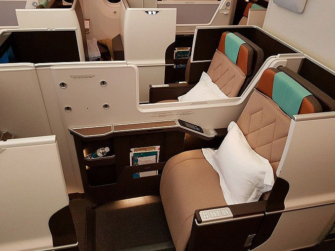 Oman Air Boeing 787 Dreamliner Business Class Seat. July 2016