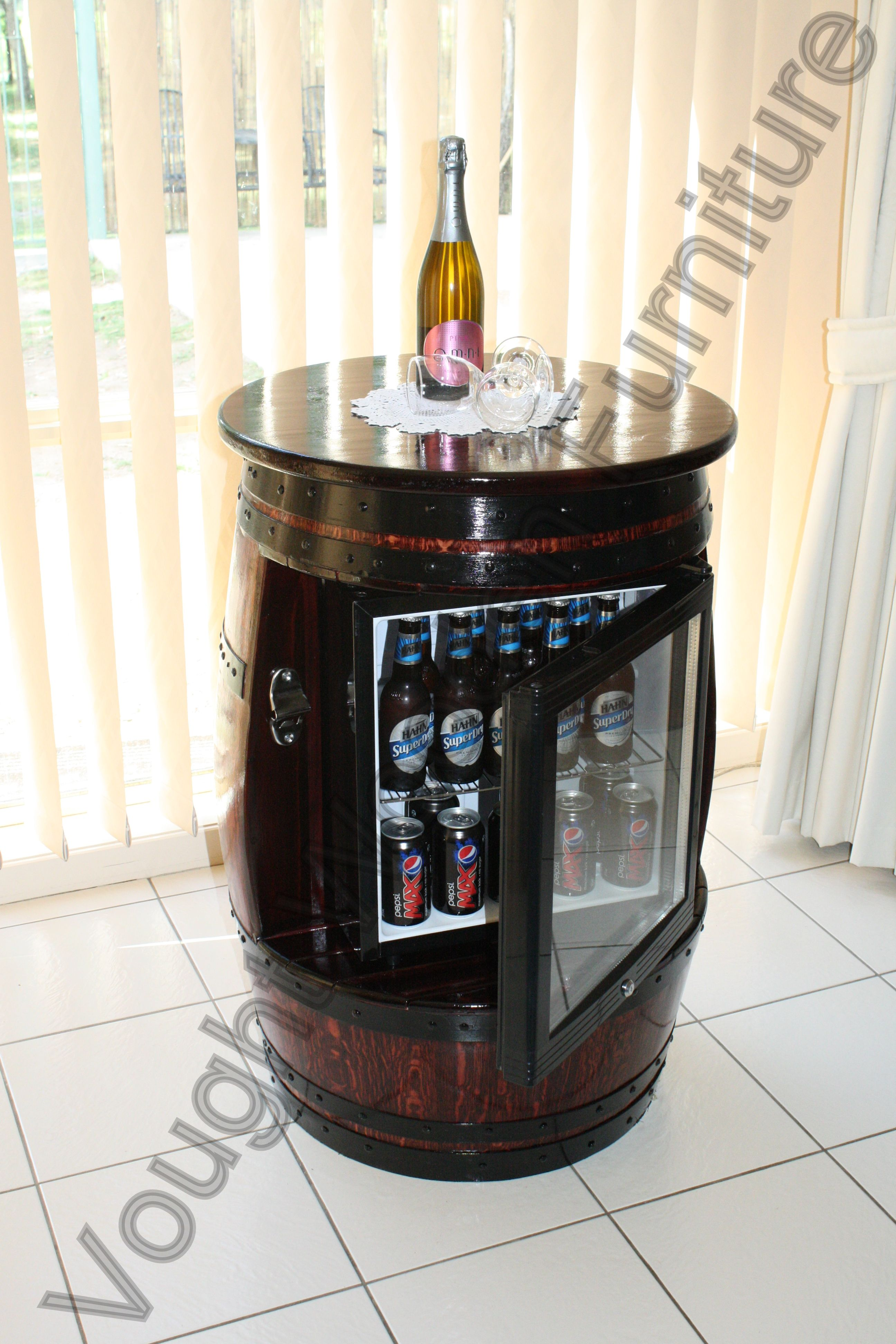 Wine Barrel Table With A Built In Glass Door Bar Fridge Built From A