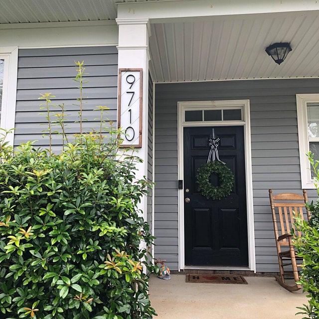 Farmhouse Shiplap House Numbers Address Sign Black House Etsy Brick Exterior House Cedar Homes Exterior Door Colors
