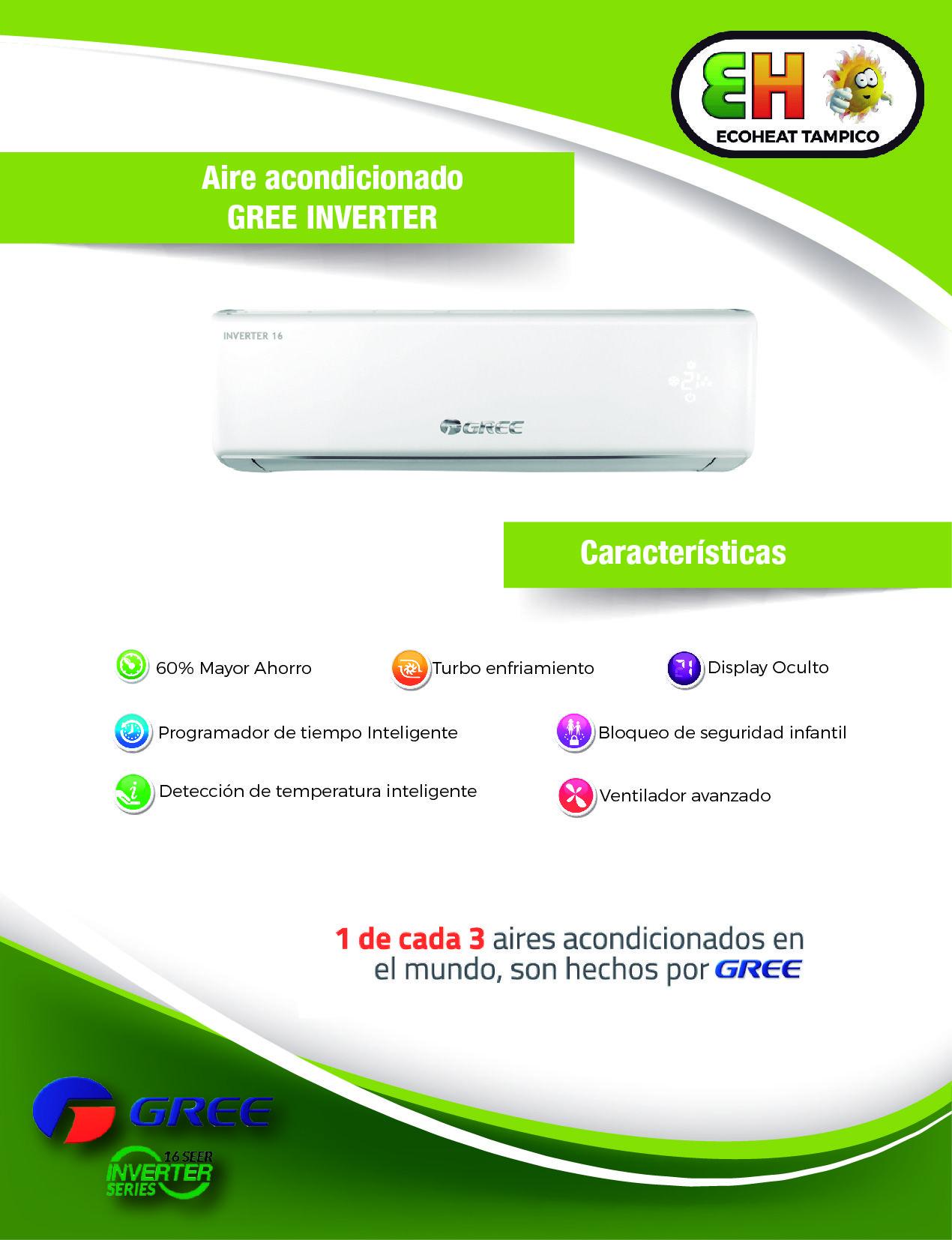 Aire Acondicionado Gree Inverter 1TON 220V 2TON 220V