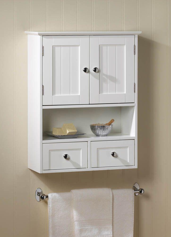 White 2 Drawer Hanging Bathroom Wall Medicine Cabinet