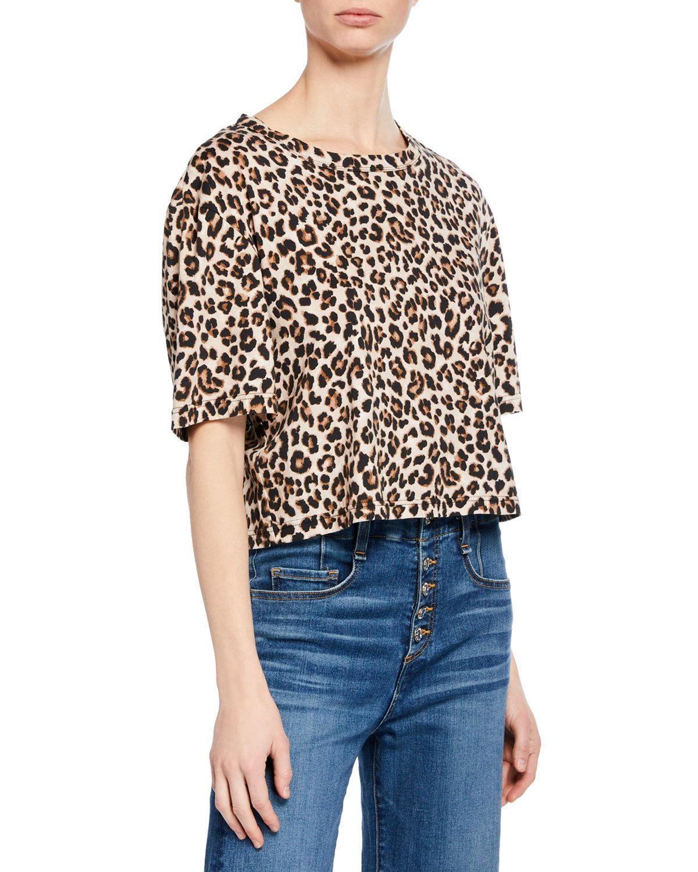 53c302833c257b Veronica Beard Abbey Leopard-Print Short-Sleeve Tee Shirt