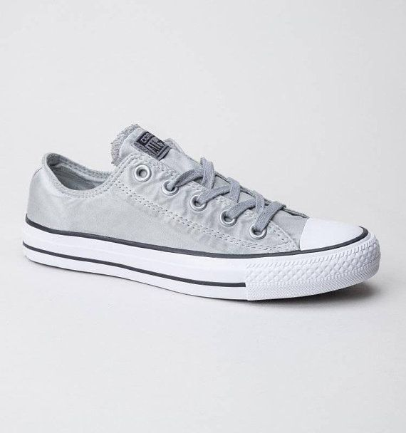 ca31d29514ef Gray Silver Converse Low Top Wash Mono Custom Grey w  Swarovski Crystal  Rhinestone Grey Chuck Taylor