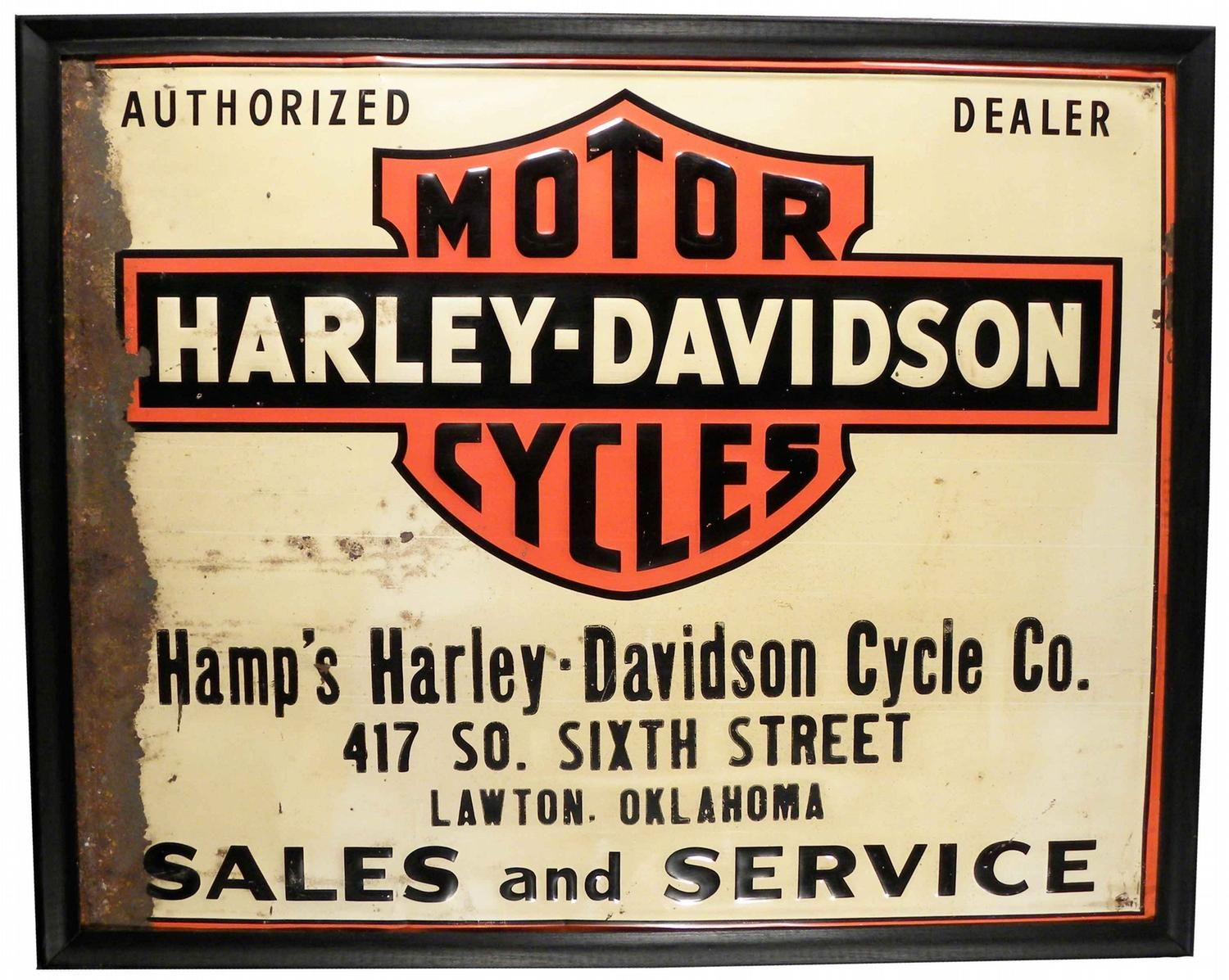 Hamp S Harley Davidson Cycle Co Dealer S Sign Painted Embossed Tin Lawton Oklahoma Circa 1930 S 23 1 2 X Harley Davidson Dealers Harley Harley Davidson