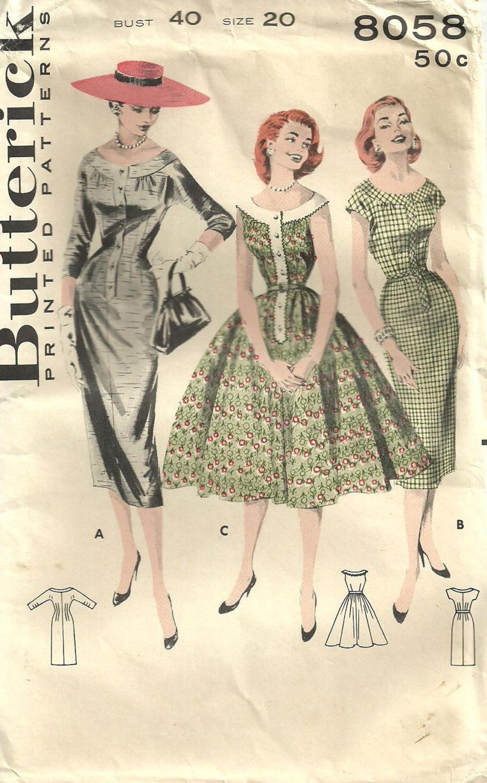 Butterick 8058 Vintage 50s Sewing Pattern Dress Size 20. $16.50, via ...