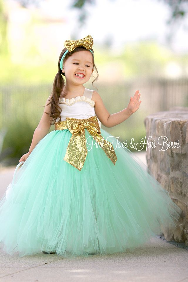 9fe12fb5caa Flower girl dress-Ivory gold Mint Sequin Flower girl dress-gold ...