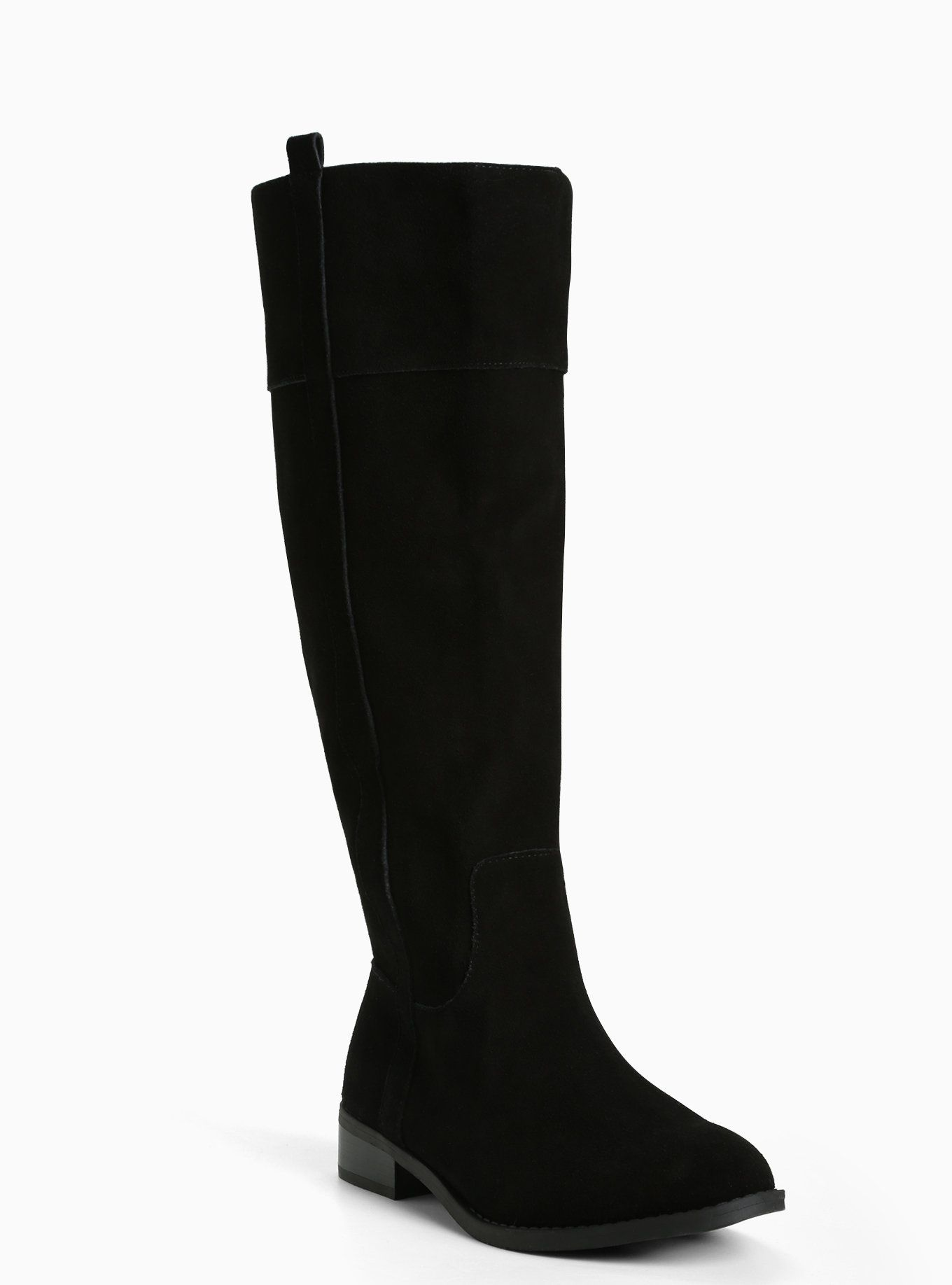 Genuine Suede Knee-High Boots (Wide