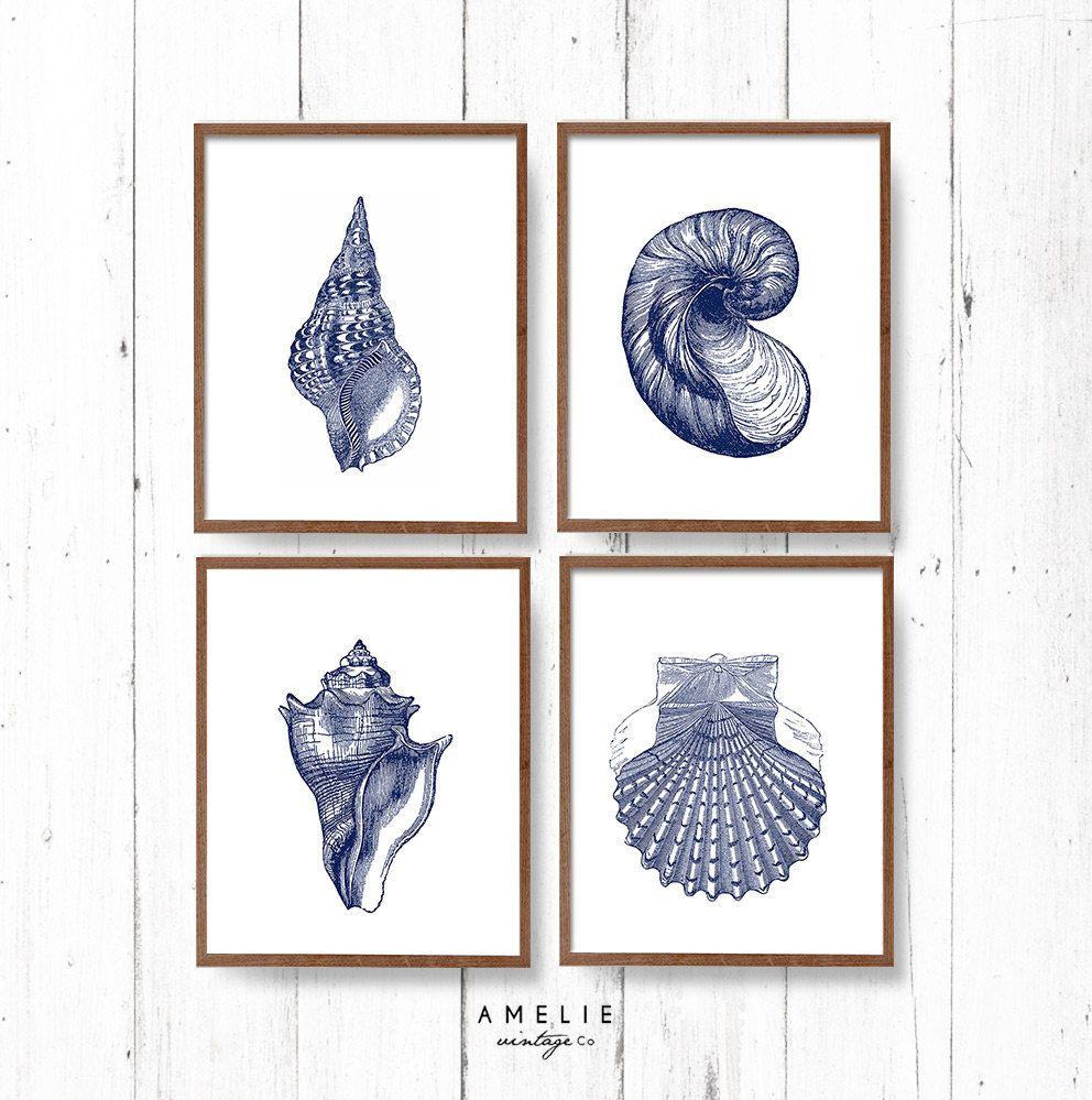 Hampton Style Wall Art, Coastal, Sea Shell Print Set, Blue