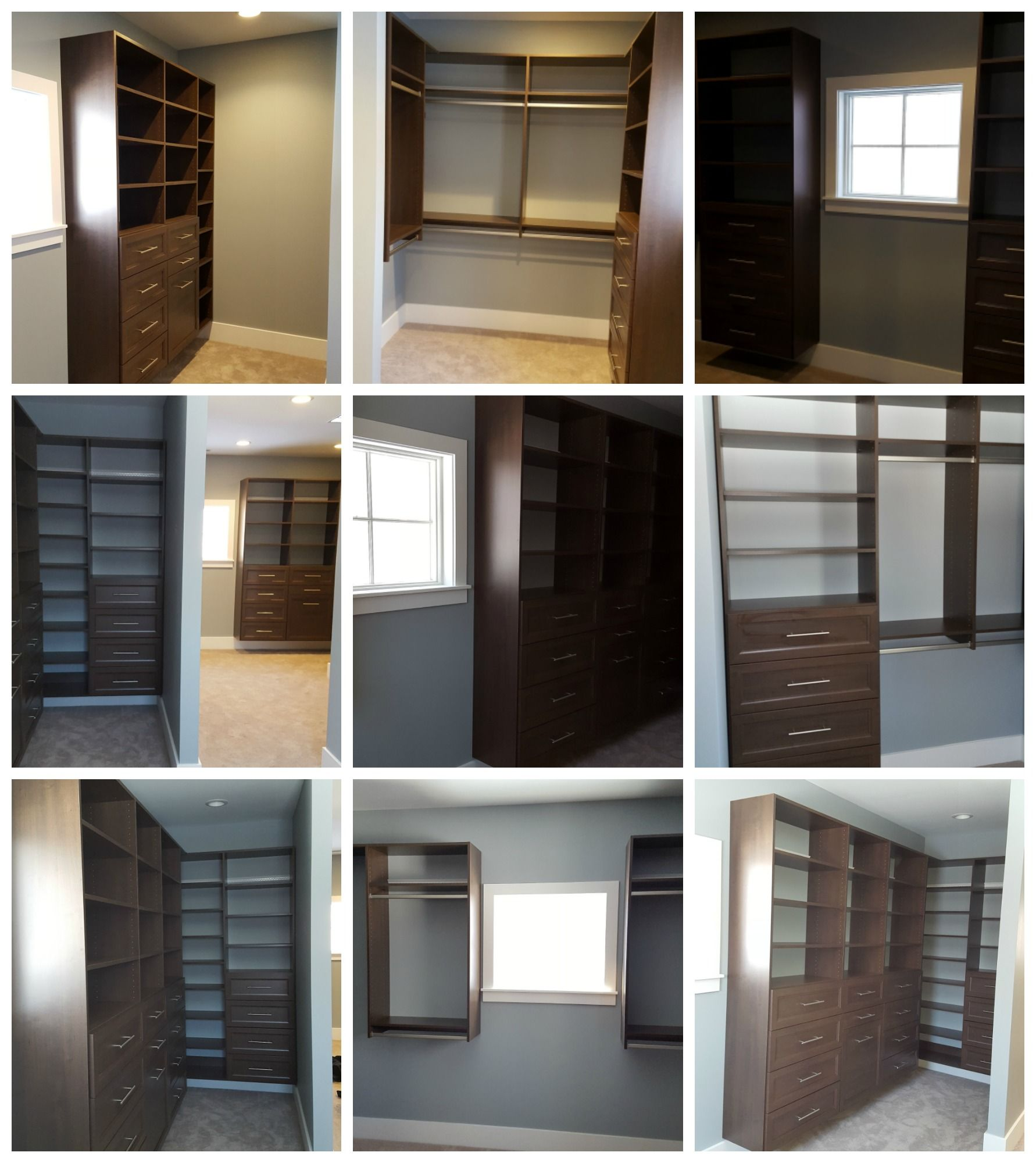 Classic Chocolate Melamine Walk In Closet With Adjustable Shelves Drawers And Double Hang Adjustable Shelving Double Hung Walk In Closet