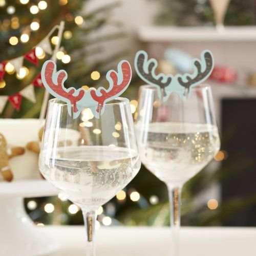 Ginger Ray Antler Christmas Glass Decorations Table Decorations X 10 - christmas table decorations