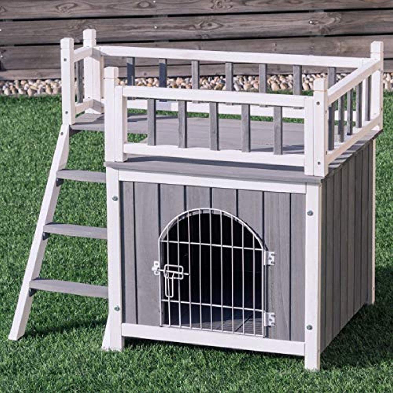 Tangkula Pet House Wooden Outdoor Indoor Dog Cat Puppy ...