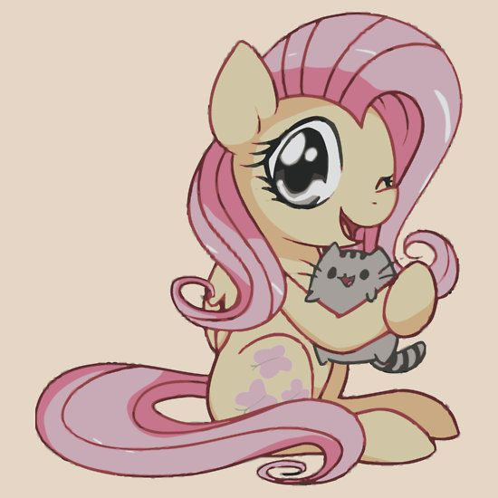 fluttershy and pusheen