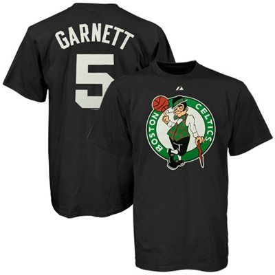 6549ae3fa Majestic Boston Celtics  5 Kevin Garnet Black Player T-shirt ...