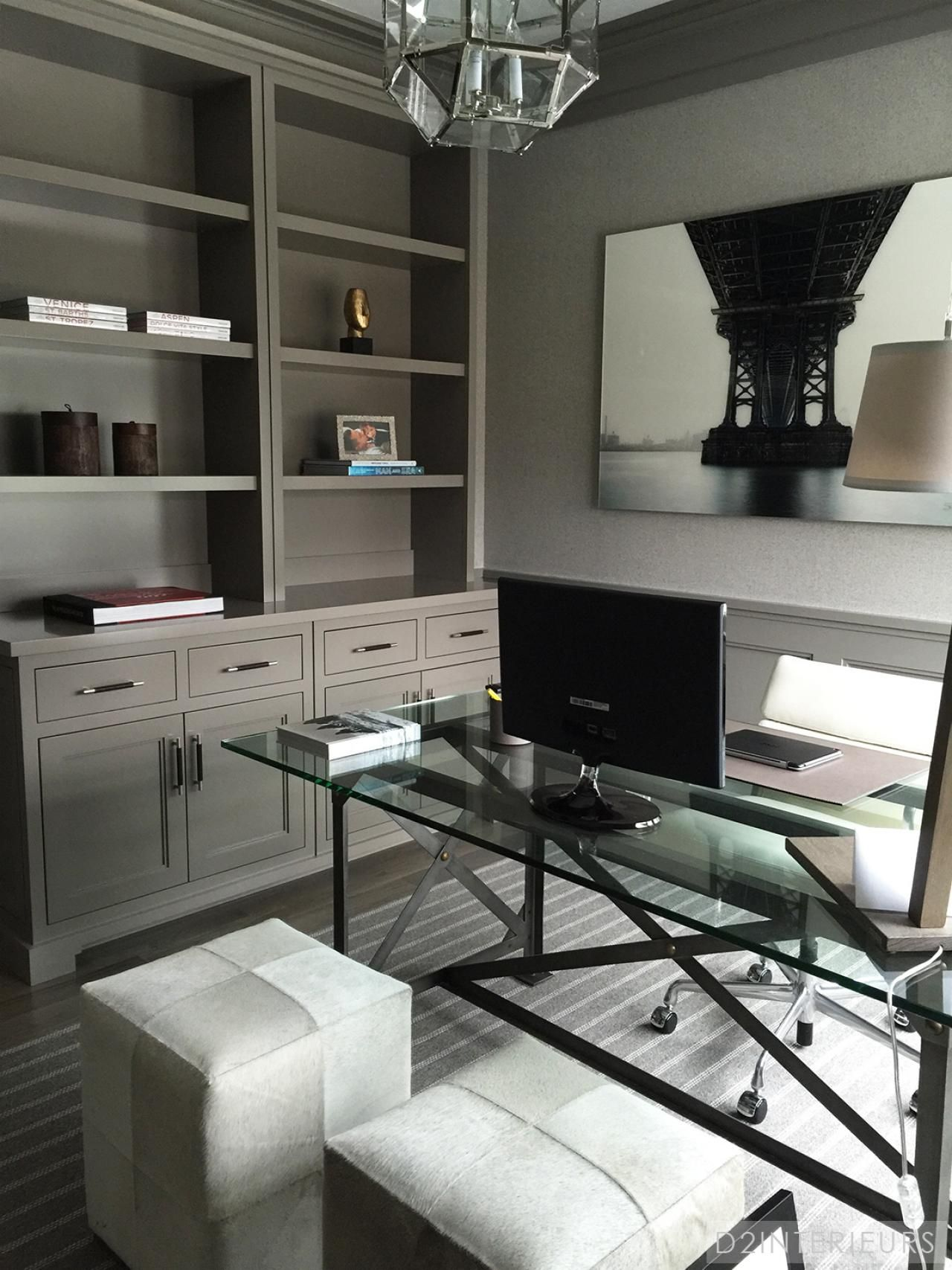 Transitional Home Office With Gray Built Ins Hgtv