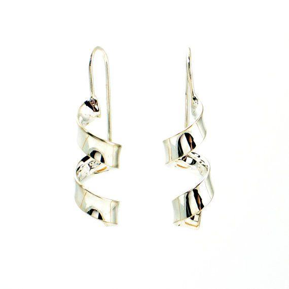 Silver Drop Earrings in Spiral Ribbon Design from EncoreJewelryandGems, $41.50