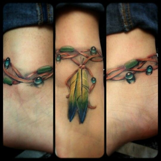 Ankle Bracelet Barefoot Sandal Indian Feather Tattoo