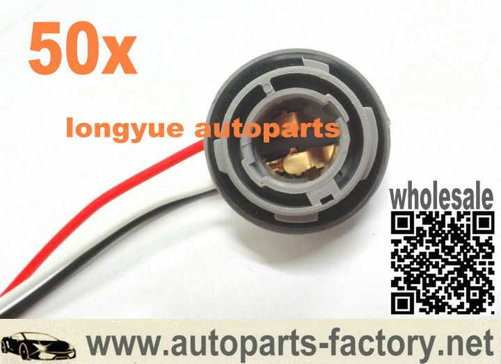 Longyue 50pcs 1157 2057 2357 Turn Signal Light Socket Harness For Led Incandescent Bulbs 6 Lamp Socket Incandescent Bulbs Bulb