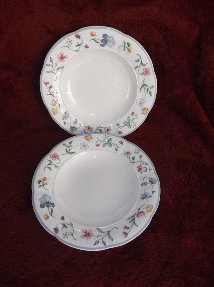 Villeroy & Boch Mariposa Bone China 2 Large Rim Soup Bowls, W ...