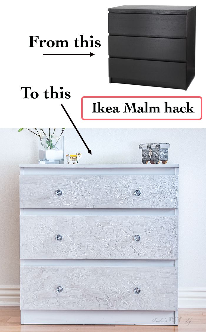 ikea malm dresser hack using diy cracked paint | transformation