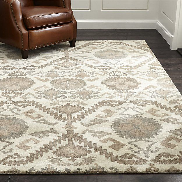 Orissa Neutral Wool 12 Sq Rug Swatch Crate And Barrel Rugs Area Rug Dining Room Geometric Rug