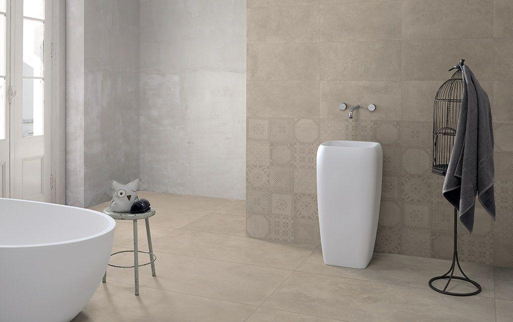 Carrelage de salle de bain style béton ciré beige EAST END Compo 2 ...
