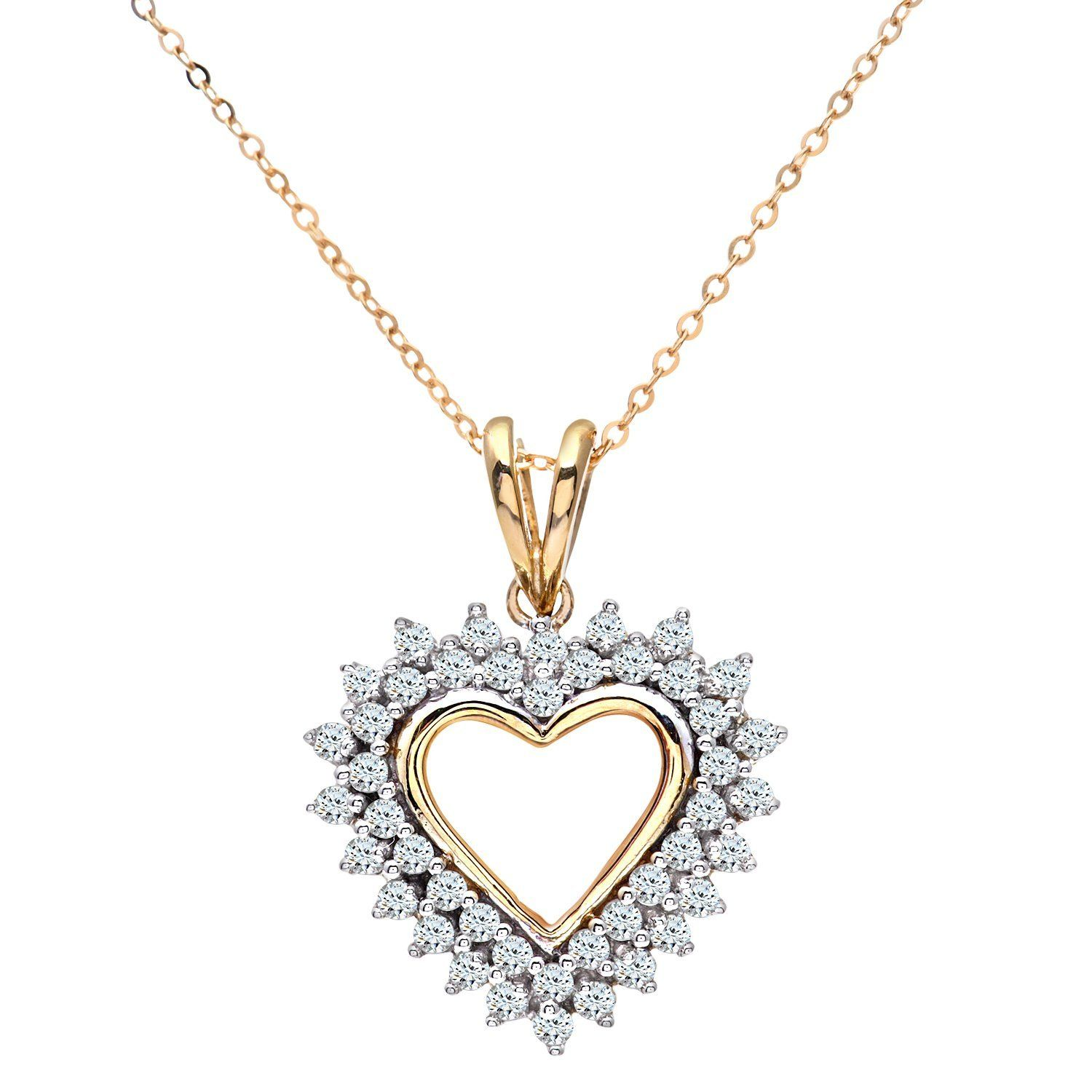 Naava Women's 9 ct White Gold Diamond Flower Heart Pendant + 46 cm Trace Chain Necklace sO8LE6Go