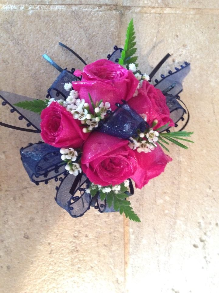 Hot Pink Navy Blue With Images Prom Corsage Pink Prom
