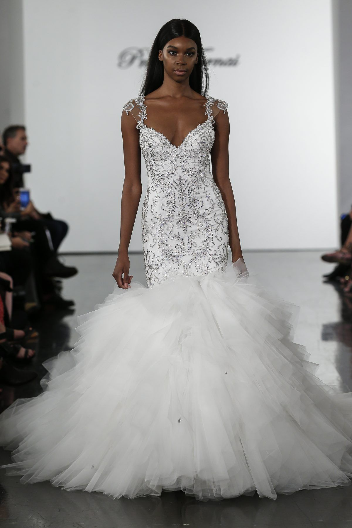 Embellished Mermaid Wedding Dress With Tulle Skirt Pnina Tornai Style 4718 Wedding Dresses Kleinfeld Pnina Tornai Wedding Dress Kleinfeld Bridal
