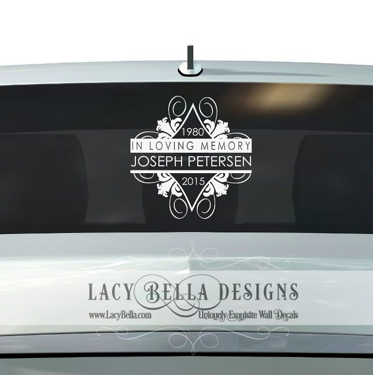 In loving memory www lacybella com lacy bella designs personalized car grief vinyl decal lettering sign memorial tribute quote
