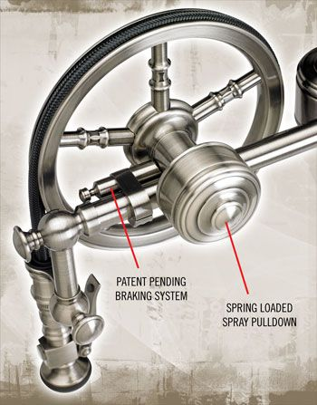 Waterwstone Wheel Faucet. Patent Pending Braking System Prevents Sag And  Slam Back.