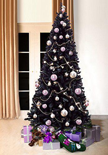 Black Bergen Fir Luxury Artificial Christmas Tree 7 Ft Tall 210cm Slimline 3 4 Ft Wi Black Christmas Trees Black Christmas Green Christmas Tree Decorations