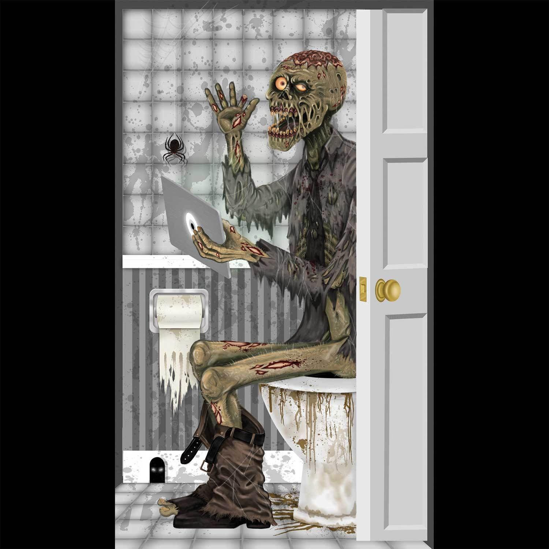 Funny zombie toilet bathroom door cover wall poster walking dead