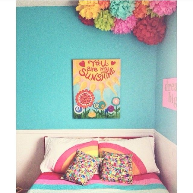 This Would Make Us Happy When Skies Are Gray Rainbow Bedroom By Michellemonk Homegoodshappy Via In Rainbow Bedroom Girls Rainbow Bedroom Unicorn Room Decor