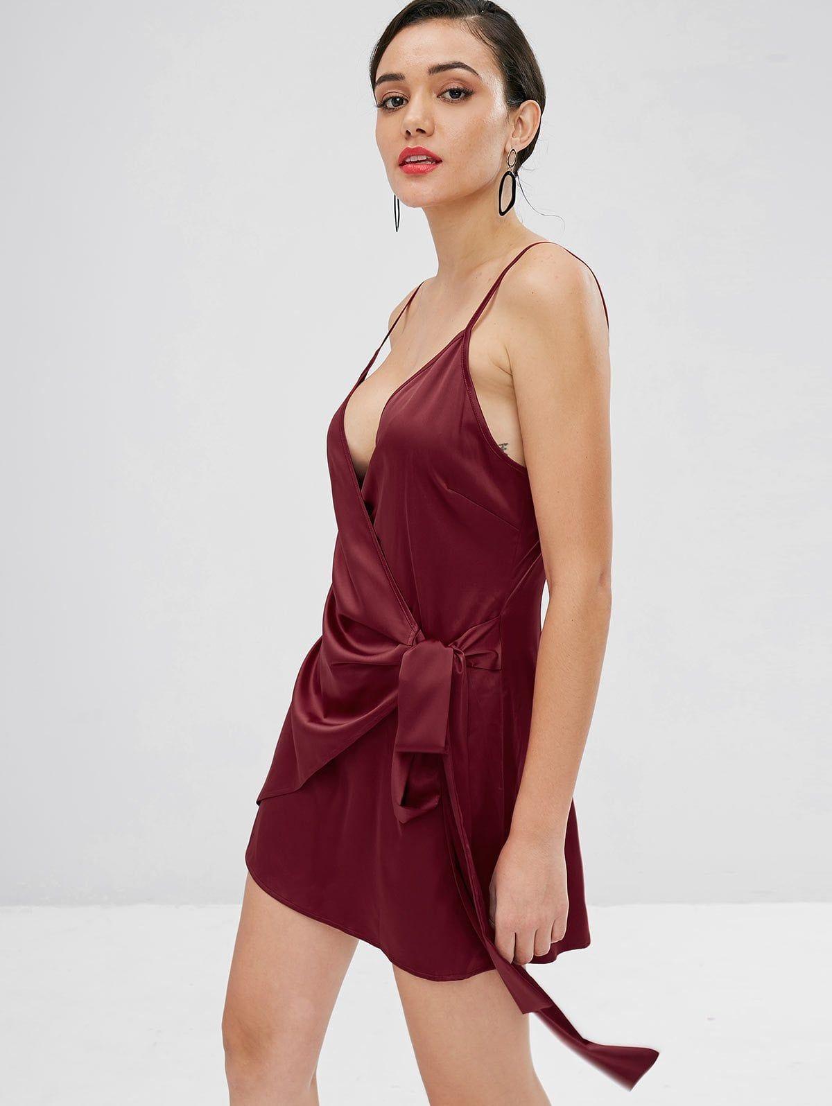 a3b5e5edd822 2018 Satin Wrap Mini Dress In RED WINE M | ZAFUL | Wrap Dress ...