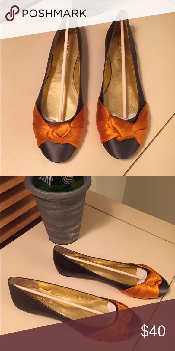 J.Crew ballet flats. Never worn gray satin J.Crew ballet flats with dark melon satin trim. Very versatile. Can be worn with a dress, pant or, on the weekend with jeans. J. Crew Shoes Flats & Loafers