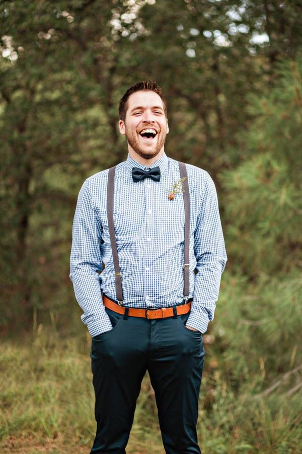 Bohemian Woodland Wedding At The Cabins At Strawberry Hill Junebug Weddings Rustic Groom Groom Attire Suspenders Wedding