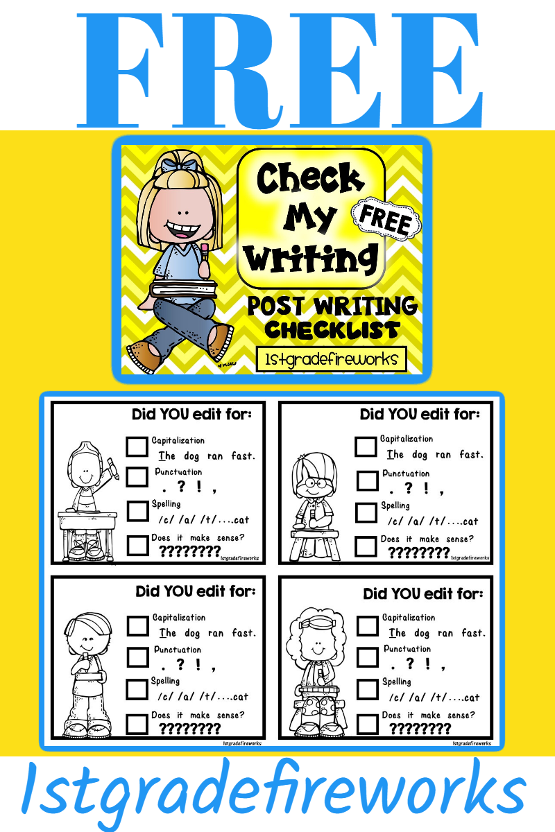 FREEBIE! Click HERE for CHECK MY WRITING FREEBIE  Editing checklist for Writers! Can be used by par