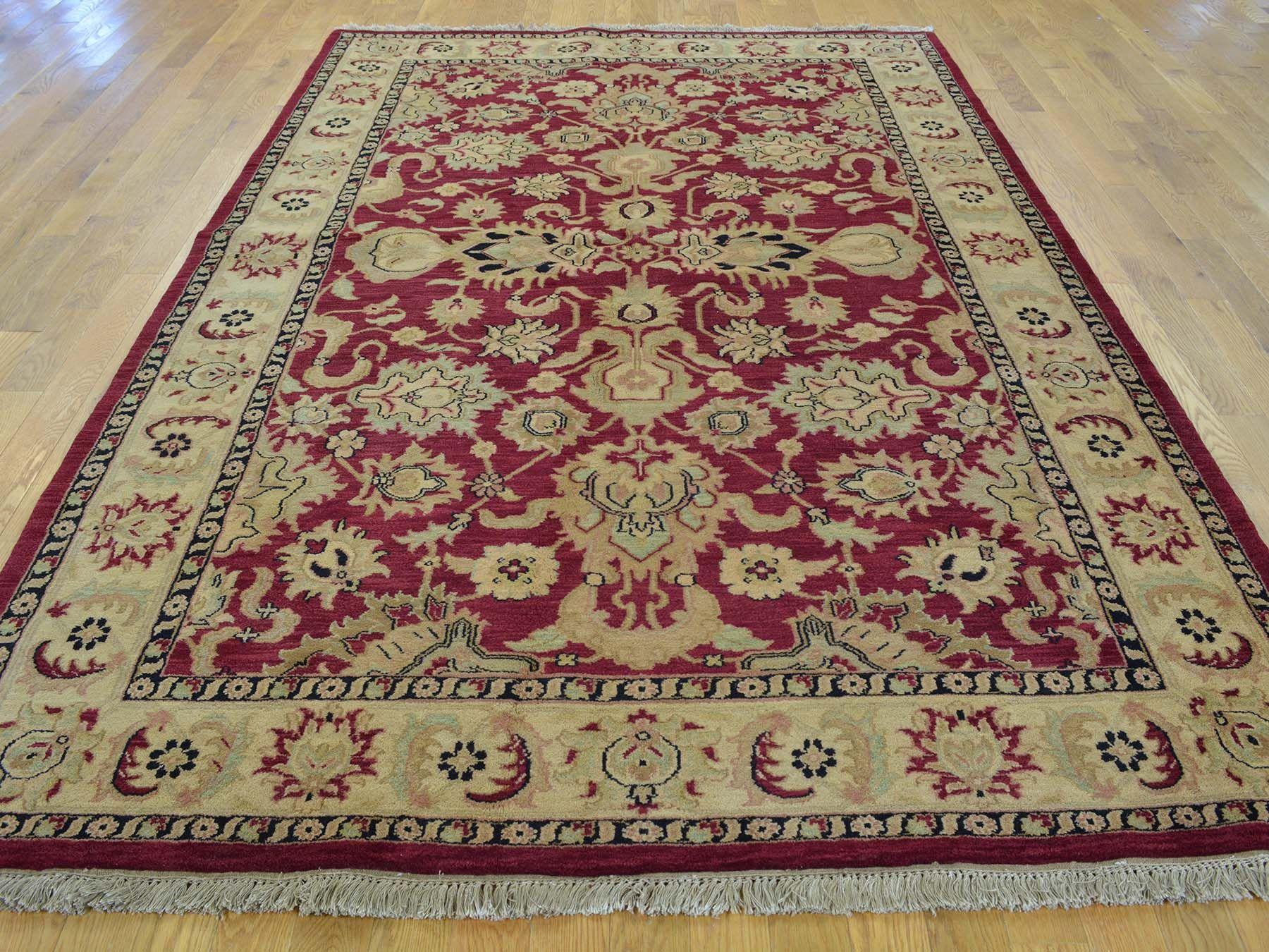 6 X 9 Burgundy Pure Wool Handmade Rajasthan Thick And