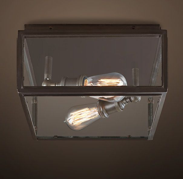 Union Filament Wide Flushmount Bronze Ur Clear Paned Fixture Holds Edison Style Bulbs Creating A Showcase For The Luminescent Beauty Of Early