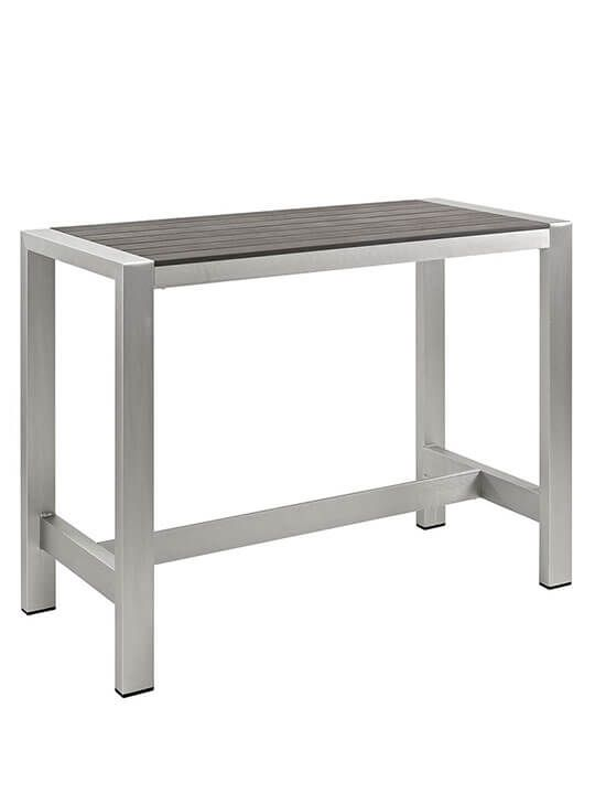 Modern Outdoor Aluminum Wood Large Bar Table | Modern Furniture • Brickell Collection
