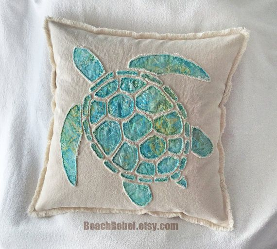 Sea Turtle Pillow Cover Appliqued With Aqua Leaf Batik And Natural Unbleached Distressed Denim Boho Pillow Cover 20 Applique Pillows Turtle Quilt Boho Pillows
