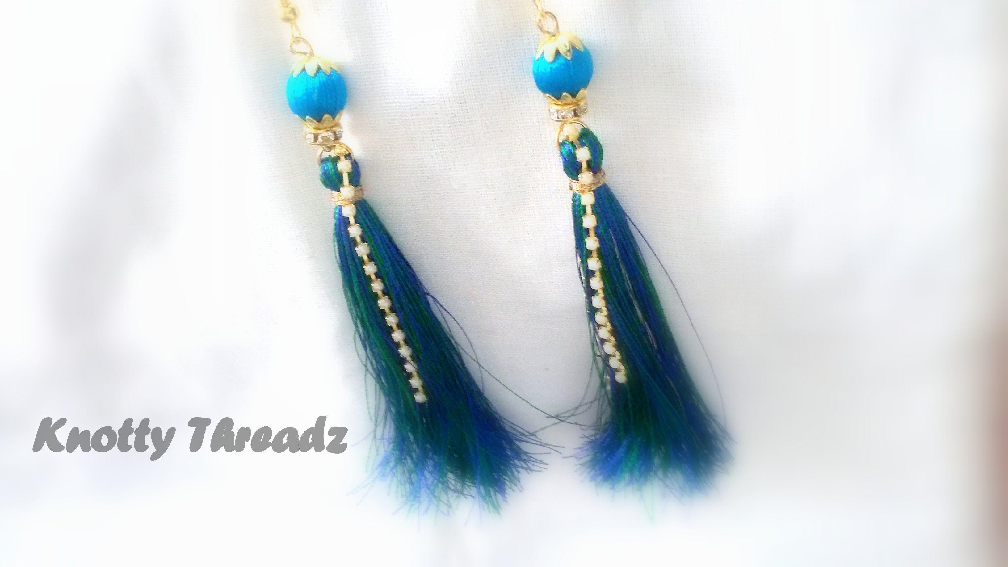 how to make silk thread tassel earrings !! | horgolt holmik