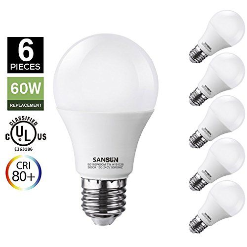 A19 Led Light Bulbs 60 Watt Equivalent Sansun 3000k Soft White E26 Socket 650lm Ullisted Led Globe Bulbs Pack Of 6 Led Light Bulbs Globe Bulbs Led Light Bulb