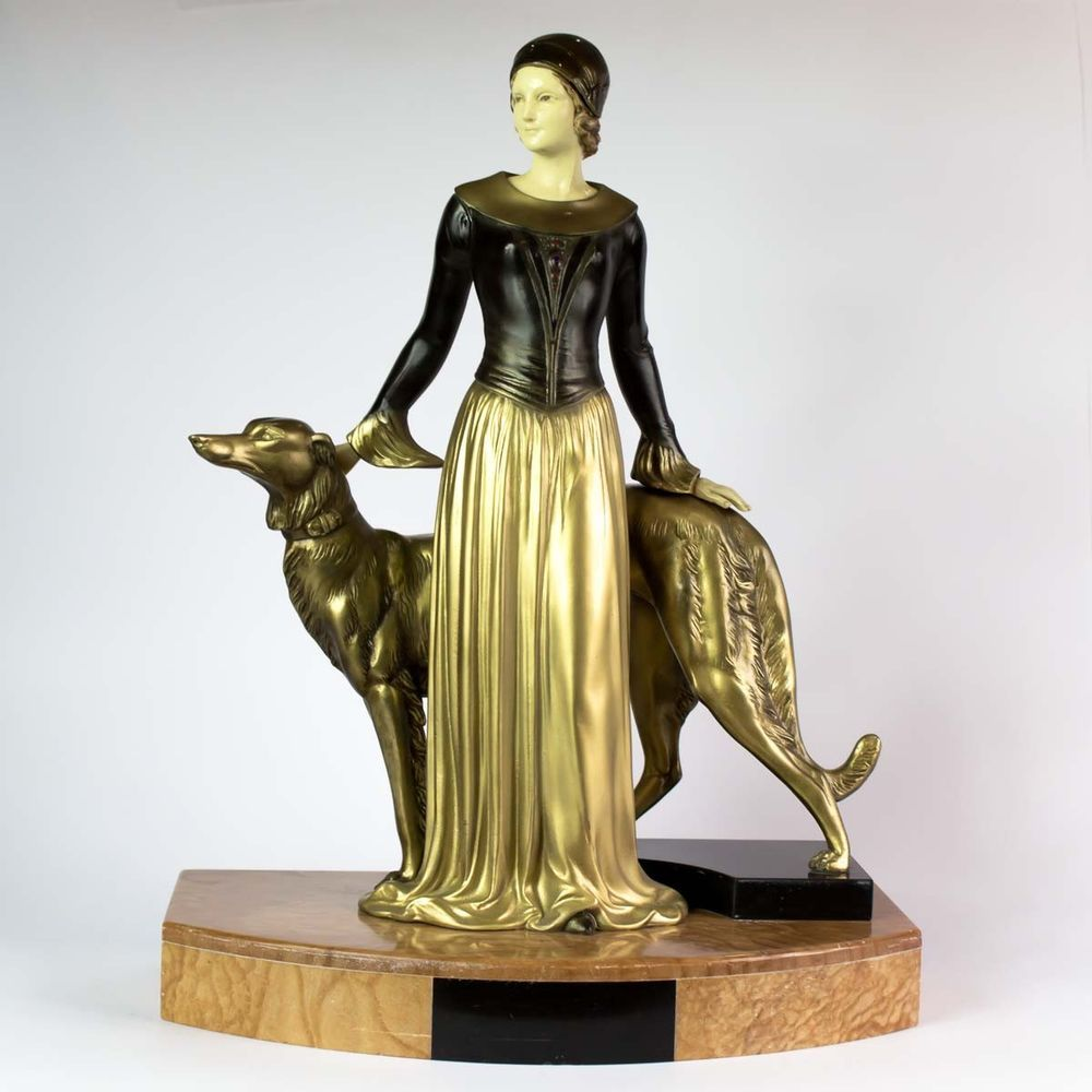 1930 Chryselephantine Statue Sculpture Art Deco Lady By Scali Antiques Periods & Styles Signed